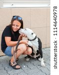 happy girl with her four legged ... | Shutterstock . vector #1114640978