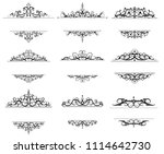 vintage vector swirl frame set | Shutterstock .eps vector #1114642730