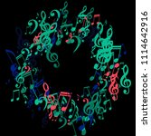 round frame of musical notes....   Shutterstock .eps vector #1114642916