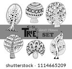 different shape hand drawn 6 ... | Shutterstock .eps vector #1114665209