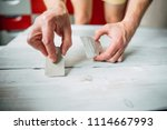 putty in the hand of a person.... | Shutterstock . vector #1114667993
