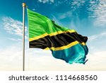tanzania flag on the blue sky... | Shutterstock . vector #1114668560