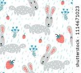 baby seamless pattern   rabbits ... | Shutterstock .eps vector #1114671023