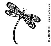 Stock vector dragonfly silhouette at white background of doodle vector ink sketch of the dragonfly 1114671893