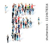 crowded isometric people vector ... | Shutterstock .eps vector #1114678316