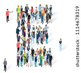 crowded isometric people vector ... | Shutterstock .eps vector #1114678319