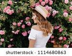 lovely blonde girl in summer... | Shutterstock . vector #1114680863