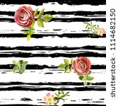 seamless striped style floral...   Shutterstock .eps vector #1114682150