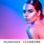 high fashion model girl in... | Shutterstock . vector #1114682486