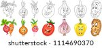 cartoon vegetables collection.... | Shutterstock .eps vector #1114690370