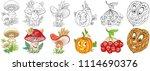cartoon plants collection.... | Shutterstock .eps vector #1114690376