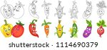 cartoon vegetables collection.... | Shutterstock .eps vector #1114690379