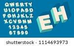 vector of vintage type alphabet ... | Shutterstock .eps vector #1114693973