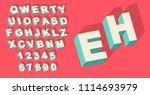 vector of vintage type alphabet ... | Shutterstock .eps vector #1114693979