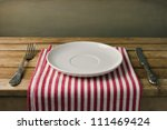 empty plate with fork and knife ... | Shutterstock . vector #111469424
