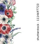 Watercolor Floral Card With Red ...
