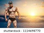 extremely fit guy posing and... | Shutterstock . vector #1114698770