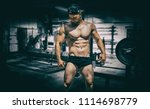 extremely fit guy posing and... | Shutterstock . vector #1114698779