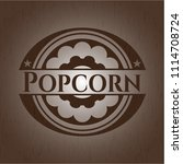 popcorn retro style wood emblem | Shutterstock .eps vector #1114708724