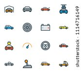 automobile icons colored line... | Shutterstock . vector #1114716149