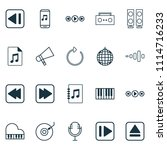 music icons set with tape ...