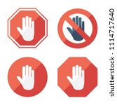 stop sign  set icons. no entry... | Shutterstock .eps vector #1114717640