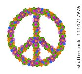 isolated floral peace symbol | Shutterstock .eps vector #1114717976