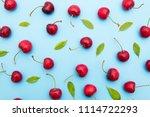 background of cherries and... | Shutterstock . vector #1114722293