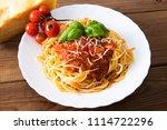 spaguetis pasta prepared with... | Shutterstock . vector #1114722296