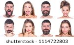 emoji set of woman and bearded... | Shutterstock . vector #1114722803