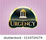 gold emblem with bank icon and ... | Shutterstock .eps vector #1114724174