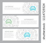 set of vector car service and... | Shutterstock .eps vector #1114725524
