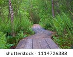 a rustic wooden path zig zags... | Shutterstock . vector #1114726388