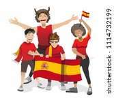 spain football fans. cheerful... | Shutterstock .eps vector #1114732199