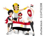 egypt football fans. cheerful... | Shutterstock .eps vector #1114732208