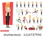 set of businesswoman working... | Shutterstock .eps vector #1114737950