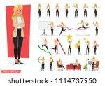set of businesswoman working... | Shutterstock .eps vector #1114737950