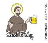 funny saint friday message | Shutterstock .eps vector #1114744733