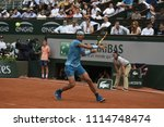 Small photo of PARIS, FRANCE - MAY 28: Rafael Nadal (ESP) competes in round 1 at the The French Open on May 28, 2018 in Paris, France.