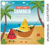 vintage summer poster with... | Shutterstock .eps vector #1114753934