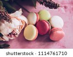 cake macaroons on pink... | Shutterstock . vector #1114761710