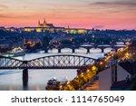 prague castle in lights ... | Shutterstock . vector #1114765049