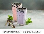 taro and strawberry milk bubble ... | Shutterstock . vector #1114766150