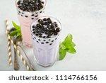 taro and strawberry milk bubble ... | Shutterstock . vector #1114766156