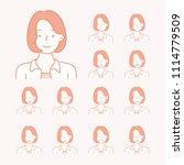 various facial expression emoji ... | Shutterstock .eps vector #1114779509
