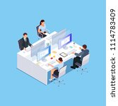isometric office. employees at... | Shutterstock .eps vector #1114783409