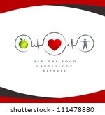 Wellness symbol. Healthy food and fitness leads to healthy heart and life.