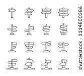 guide post line icon set | Shutterstock .eps vector #1114800386