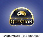 golden emblem with video game ... | Shutterstock .eps vector #1114808900