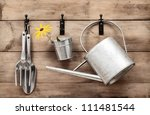garden tools hanging and... | Shutterstock . vector #111481544